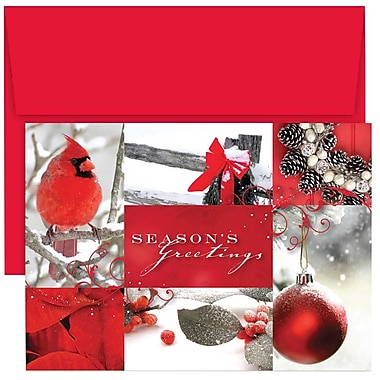 JAM Paper® Christmas Holiday Cards Set, Winter Collage, 2 packs of 18 (526864600g)