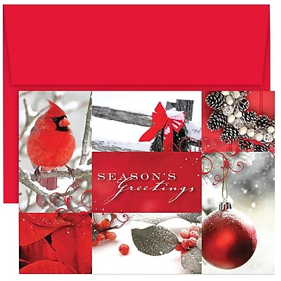 JAM Paper® Christmas Holiday Cards Set, Winter Collage, 18/pack (526864600)