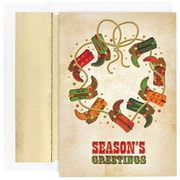 JAM Paper® Christmas Holiday Cards Set, Boot Wreath Seasons Greetings, 18/pack (526864700)