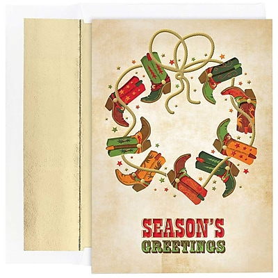 JAM Paper® Christmas Holiday Cards Set, Boot Wreath Seasons Greetings, 18/pack (526864700)