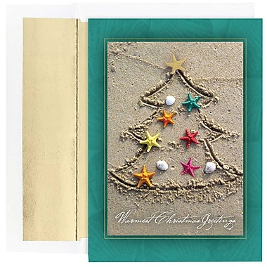 JAM Paper® Christmas Holiday Cards Set, Sand Tree, 18/Pack (526864900g)