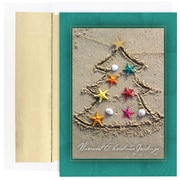 JAM Paper® Christmas Holiday Cards Set, Sand Tree, 18/Pack (526864900)
