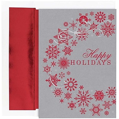 JAM Paper® Christmas Holiday Cards Set, Snowflake Wreath, 16/Pack (526865600)