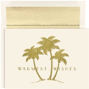 JAM Paper® Christmas Holiday Cards Set, Gold Palm Trees, 18/pack (526866600)