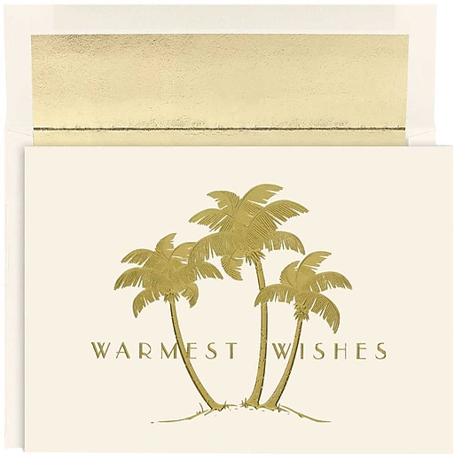 Jam Paper Christmas Holiday Cards Set Gold Palm Trees 18pack