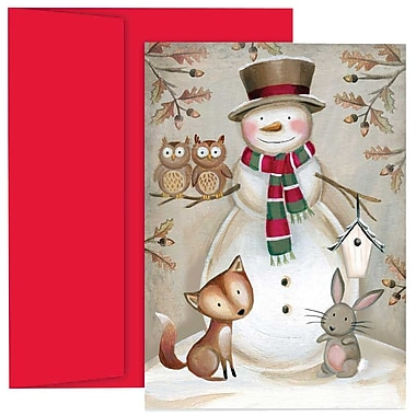 JAM Paper® Christmas Holiday Cards Set, Woodland Animals and Snowmen, 2 packs of 18 (526866900g)