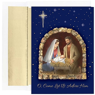 JAM Paper® Christmas Holiday Cards Set, Let Us Adore Him, 2 packs of 18 (526867400g)