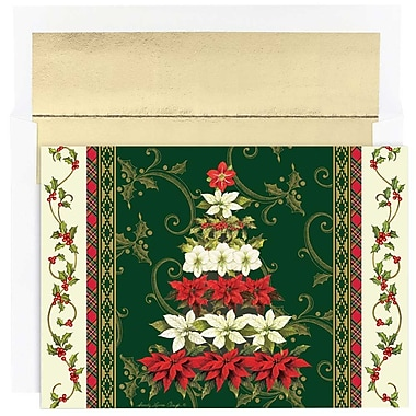 JAM Paper® Christmas Holiday Cards Set, Floral Tree, 18/Pack (526867500g)