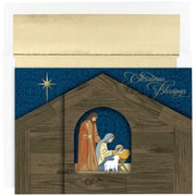 JAM Paper® Christmas Holiday Cards Set, Christmas Stable, 16/pack (526868500)