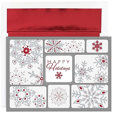 JAM Paper® Christmas Holiday Cards Set, Snowflake Collage, 16/Pack (526868900)