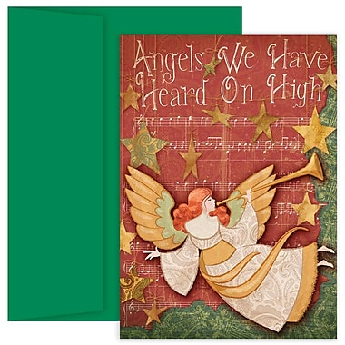 JAM Paper® Christmas Holiday Cards Set, Angel, 2 packs of 18 (526869300g)