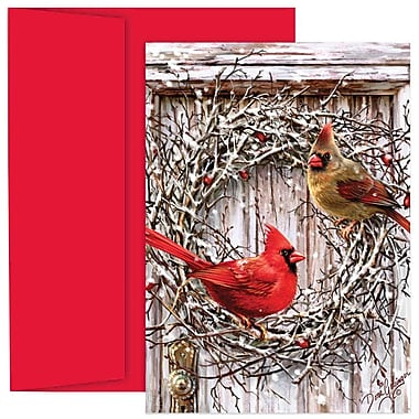 JAM Paper® Christmas Holiday Cards Set, Cardinal Wreath, 18/Pack (526869400g)
