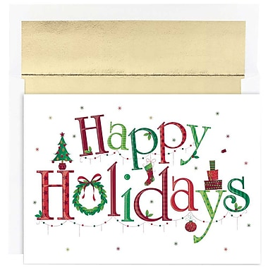 JAM Paper® Christmas Holiday Cards Set, Happy Holidays, 2 packs of 18 (526869800g)
