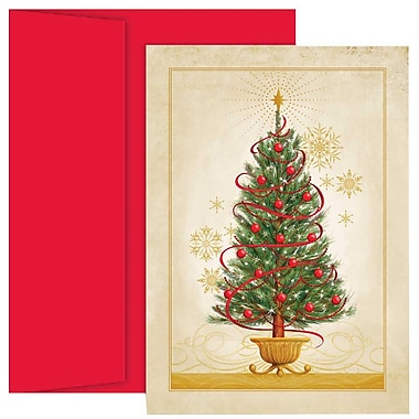 JAM Paper® Christmas Holiday Cards Set, Christmas Tree, 2 packs of 18 (526869900g)
