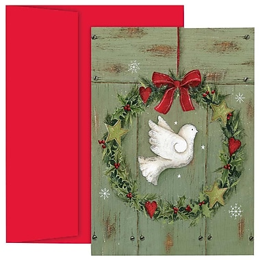 JAM Paper® Christmas Holiday Cards Set, Dove and Wreath, 18/Pack (526870100g)