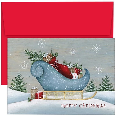 JAM Paper® Christmas Holiday Cards Set, Santa's Sleigh, 18/Pack (526870200g)