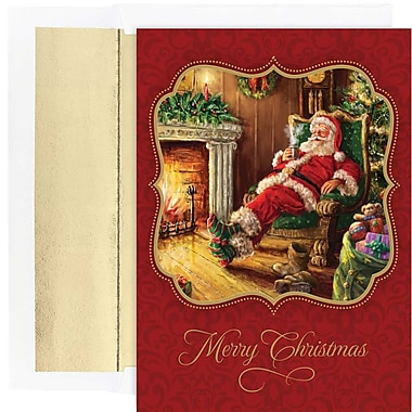 JAM Paper® Christmas Holiday Cards Set, Relaxing Santa, 18/Pack (526870300g)