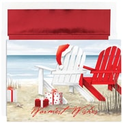 JAM Paper® Christmas Holiday Cards Set, Beach Chairs, 18/pack (526870600)