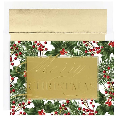 JAM Paper® Christmas Holiday Cards Set, Merry Christmas Greeting, 16/Pack (526872100)