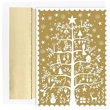 JAM Paper® Christmas Holiday Cards Set, Tree of Holiday Delight, 2 packs of 18 (526872500g)