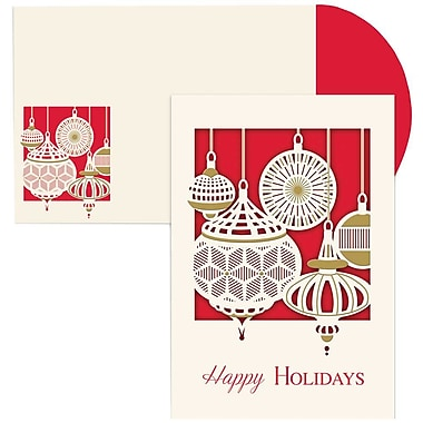 JAM Paper® Christmas Holiday Cards Set, Ornament, 12/Pack (526873100)