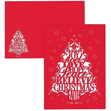 JAM Paper® Christmas Holiday Cards Set, Sentiment Tree, 12/Pack (526873200)