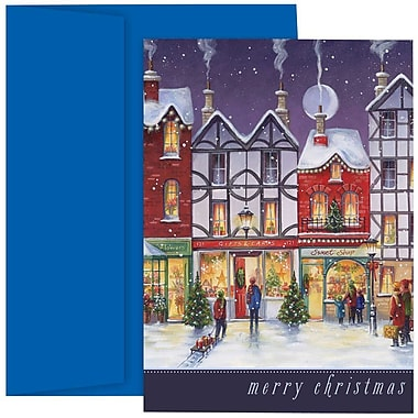 JAM Paper® Christmas Holiday Cards Set, City Street Merry Christmas, 18/Pack (526873600g)
