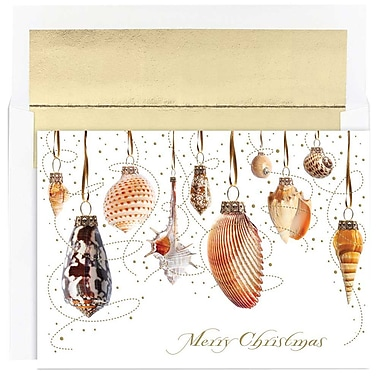 JAM Paper® Christmas Holiday Cards Set, Shell Baubles, 18/pack (526873800)