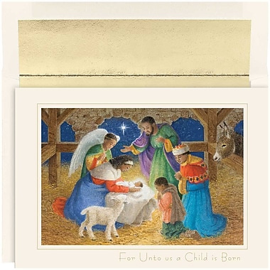 JAM Paper® Christmas Holiday Cards Set, For Unto Us, 18/Pack (526875000g)