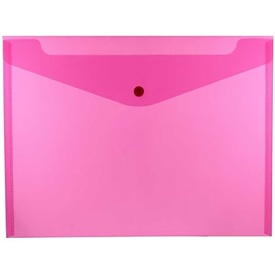 JAM Paper® Plastic Envelopes with Snap Closure, Letter Booklet, 9.75 x 13, Fuchsia Pink Poly, 12/pack (218S0FU)
