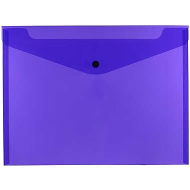 JAM Paper® Plastic Envelopes with Snap Closure, Letter Booklet, 9.75 x 13, Purple Poly, 12/Pack (218S0PU)