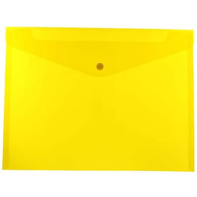 JAM Paper® Plastic Envelopes with Snap Closure, Letter Booklet, 9.75 x 13, Yellow Poly, 12/pack (218S0YE)