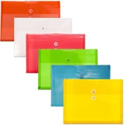 JAM Paper® Plastic Envelopes, Button and String Tie Closure, Legal Booklet, 9.75x14.5, Assorted Colors, 6/pack (219B1RLIGBYORCL)