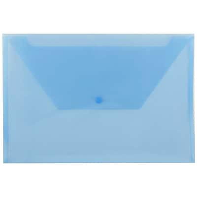 JAM Paper® Plastic Envelopes with Snap Closure, Legal Booklet, 9.75 x 14.5, Blue Poly, 12/pack (34830BU)