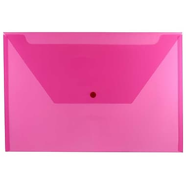 JAM Paper® Plastic Envelopes with Snap Closure, Legal Booklet, 9.75 x 14.5, Fuchsia Pink Poly, 12/Pack (219S0FU)