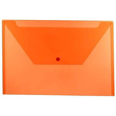JAM Paper® Plastic Envelopes with Snap Closure, Legal Booklet, 9.75 x 14.5, Orange Poly, 12/Pack (219S0OR)