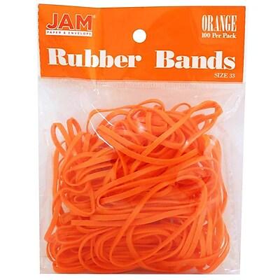JAM Paper® Rubber Bands, #33 Size, Orange Rubberbands, 100/pack (333RBOR)