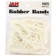 JAM Paper® Rubber Bands, #33 Size, White Rubberbands, 100/pack (333RBWH)