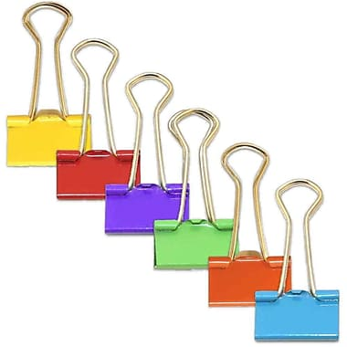 JAM Paper® Binder Clips, Small, 19mm, 6 Colours of Assorted Binderclips, 25 per Colour, 150 per set (334BCRGBYOP)
