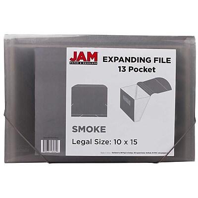 JAM Paper® 13 Pocket Expanding File, Letter Size, 9 x 13, Smoke Grey, 24/pack (418EX13SMB)