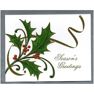 JAM Paper® Christmas Holiday Cards Set, Holly with Gold Ribbon, 2 Packs of 25 (52614492Lg)