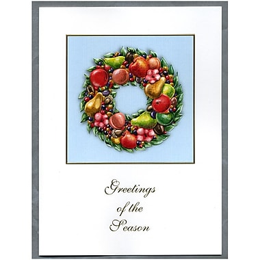 JAM Paper® Christmas Holiday Cards Set, Fruit Wreath, 2 packs of 25 (52614492Pg)