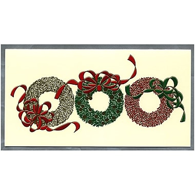 JAM Paper® Christmas Holiday Cards Box Set, Three Wreaths, 25/Pack (52614492Sg)