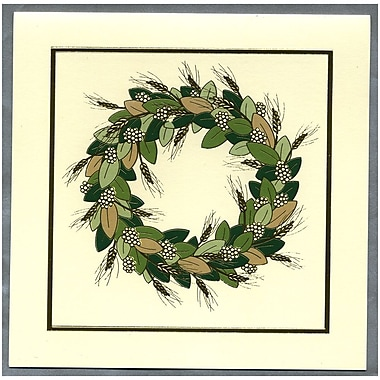 JAM Paper® Christmas Holiday Cards Set, Gold and Green Wreath, 25/Pack (52614492Ug)