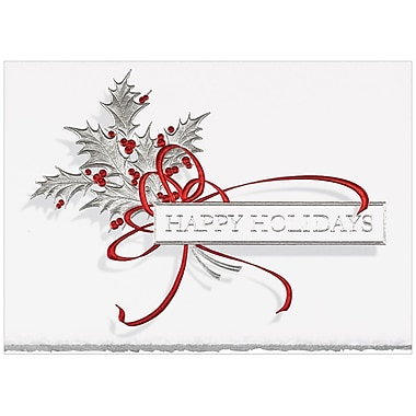 JAM Paper® Blank Christmas Holiday Cards Set, Silver Holly, 25/Pack (526B2860WB)