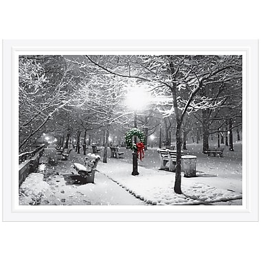 JAM Paper® Blank Christmas Holiday Cards Set, Park Bench Scene, 25/Pack (526B7166B)