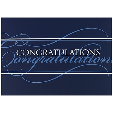 JAM Paper® Blank Congratulations Cards Set, Blue Congratulations, 25/Pack (526BG421WB)