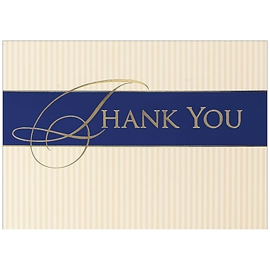 JAM Paper® Thank You Cards Set, Striped, 25/Pack (526BG445WB)