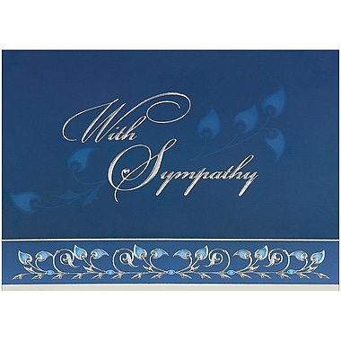 JAM Paper® Blank Sympathy Card Set, Blue and Silver With Sympathy, 25/Pack (526BG449WB)