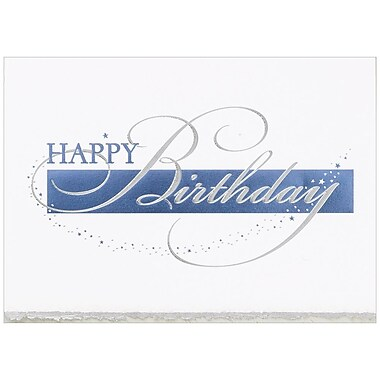 JAM PaperR Blank Birthday Cards Set Happy Deckle Edge 25 Pack 526BG769WB